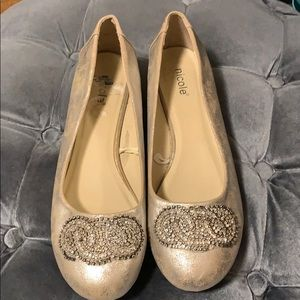 Nicole gold flat shoes